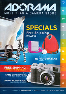 Picture of camera catalog from Adorama Camera catalog