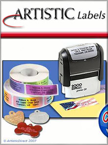 Picture of printed mailing labels from Artistic Labels catalog