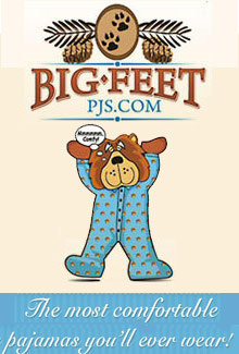 Picture of footie pajamas from Big Feet PJS catalog