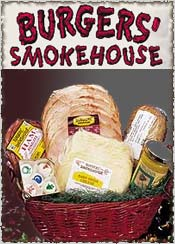 Image of holiday meat baskets from Burgers' Smokehouse catalog