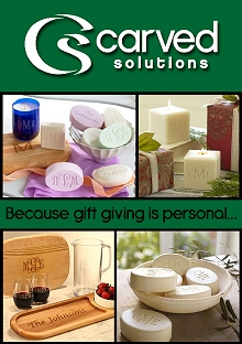 Picture of monogrammed soap from Carved Solutions catalog