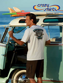 Picture of t shirt catalog from Crazy Shirts catalog