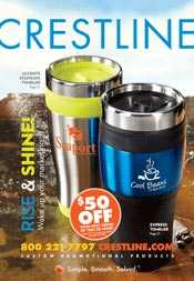 Picture of promotional items for business from Crestline catalog