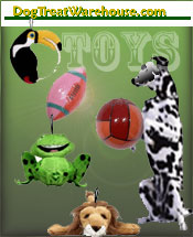 Image of fun dog toys from DogTreatWarehouse catalog