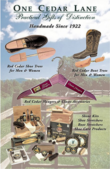 Picture of cedar shoe trees from One Cedar Lane catalog