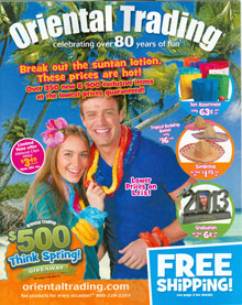 Picture of childrens party supplies and decorations from Oriental Trading catalog