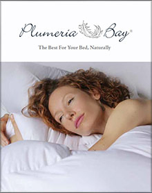 Image of goose down feather pillows from Plumeria Bay catalog
