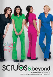 Picture of medical scrub sets from Scrubs & Beyond catalog
