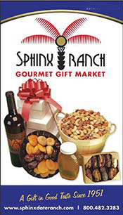 Picture of stuffed medjool dates from Sphinx Ranch Gourmet Gift Market catalog