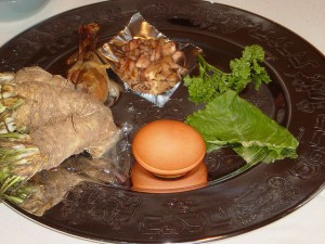 The Passover seder plate is part of the Passover tradition