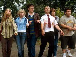 Shaun of the Dead is on the list of top ten zombie movies