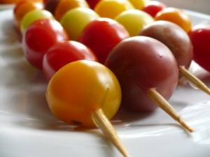 Skewer cherry tomatoes as an ingredient for Bloody Marys