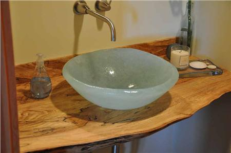 green glass sink