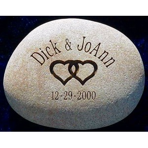 Engraved wedding date stone