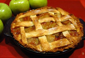 Apple Ginger Pie with Cider Bourbon Sauce
