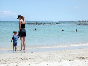 mom and child on beach