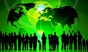green globe with people