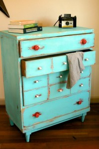turquoise distressed dresser