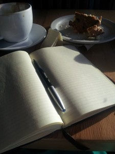 journal and cake