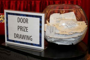 prize drawing entries in bowl