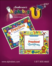 Image of preschool graduation certificate from Anderson�s Early Childhood Development catalog
