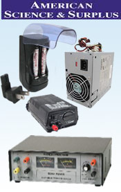 Image of batteries and adapters from American Science & Surplus catalog