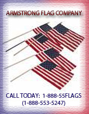 Image of flags on sticks from Armstrong Flag Company catalog