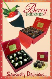 Picture of strawberries dipped in chocolate from Berry Gourmet catalog