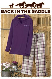 Image of womens horse pajamas from Back in the Saddle catalog