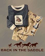 Image of childrens horse pajamas from Back in the Saddle catalog