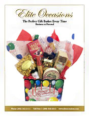 Image of unique food baskets from Elite Occasions Gift Baskets catalog