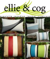 Picture of leather pillow from Ellie & Cog catalog