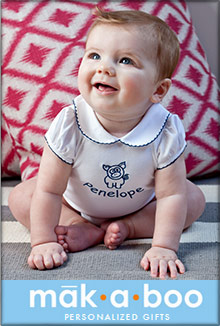 Picture of personalized baby gifts from Makaboo Personalized Gifts catalog
