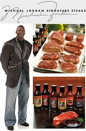 Image of black cooking apron from Michael Jordan Steaks catalog