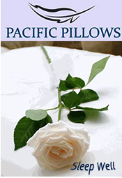 Picture of luxury hotel bedding from Pacific Pillows catalog