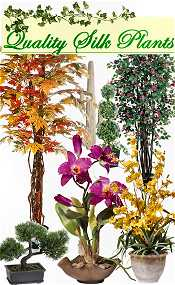 Image of artificial trees and plants from Quality Silk Plants catalog