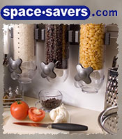 Image of kitchen pantry organizers from Space Savers catalog