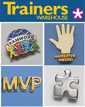 Image of novelty lapel pins from Trainers Warehouse catalog