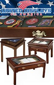 Image of wooden display table from United Displays of America catalog