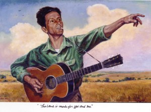 Woody Guthrie is number one on the list of famous folk music artists