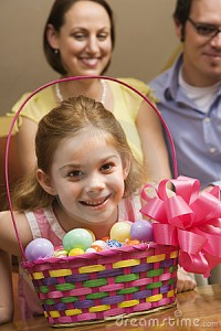 Easter baskets filled with eggs and chocolate are part of Easter tradition.