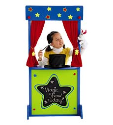 Setting up a puppet theater is one of the top ten kids spring break activities