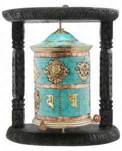 Top ten facts about Buddhism include use of prayer wheel for meditation