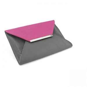 pink and grey clutch purse