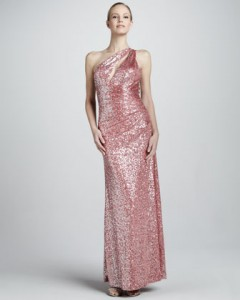 pink one shoulder designer gown