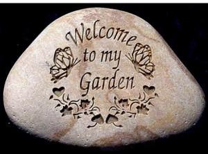engraved garden stone