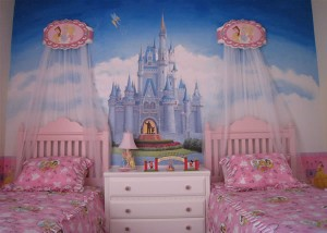 Princess bedroom with mural