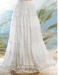 Long, tiered skirt