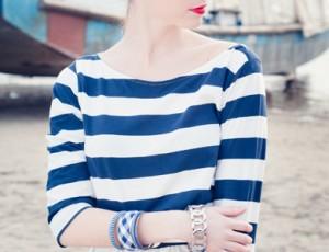 navy and white ladies shirt