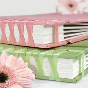 pink and green scrapbooks